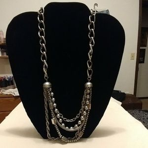 5 chain silver plated necklace